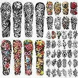 46 hojas de tatuajes temporales impermeables de brazo completo para hombres y mujeres, flor rosa, lirio, margarita, calavera, lobo, grandes pegatinas de tatuaje para cuerpo, mano, cuello
