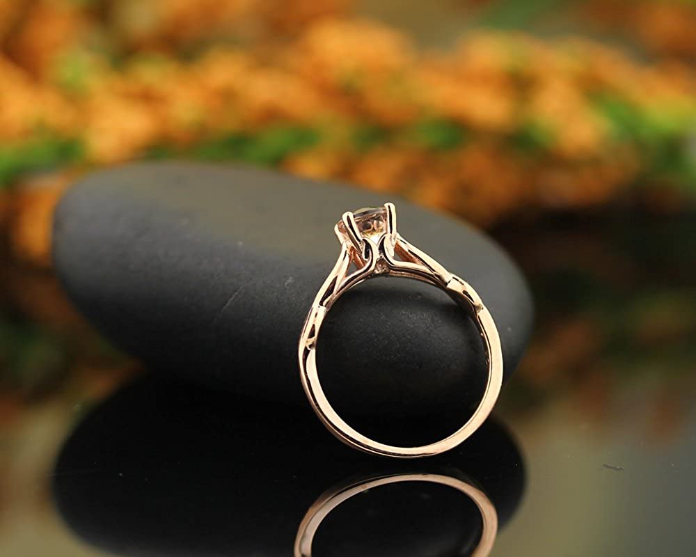 Natural Moragnite Infinity Style Solitaire Engagement Ring in 10K Rose Gold