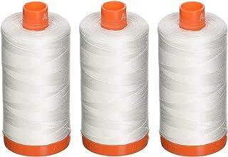 Aurifil A1050-2021 Mako Cotton Thread Solid 50WT 1422Yds Natural White (Тhree Pаck, Natural White)