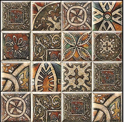 Azulejo de cerámica forma abombada, medidas 15 x 15 cada azulejo 1 metro cuadrado (44 piezas), azulejos surtidos, De gran diseño, azulejo valenciano. Material tierra roja. (VINCI)