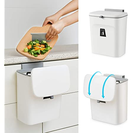 Hanging Small Trash Can with Lid for Cupboard//Bathroom//Bedroom//Office//Camping Mountable Indoor Compost Bucket Tiyafuro 2.4 Gallon Kitchen Compost Bin for Counter Top or Under Sink Gray