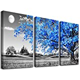 Wall Art For Living Room black and white Blue tree moon Canvas Wall Decor for Home artwork Painting 12