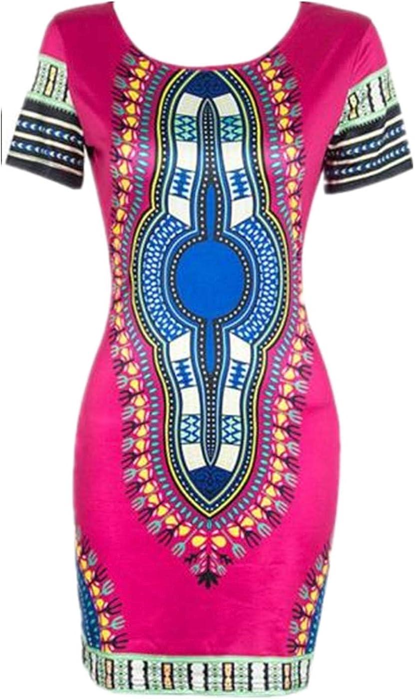 Woman Horn Sleeve dress Colorfull Printed O Neck Bodycon T-Shirt dress S-XL