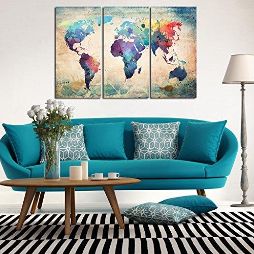 SM SunniMix Cuadro Ilustrado Colgante Mural Lona Mapa de Mundo Imagen Decorativa de Habitación Pared - # 3