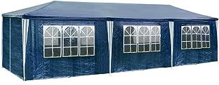 TecTake 800085 Pavillon Partyzelt Gartenzelt Eventpavillon 3x9m 9x3m + 8 Seitenteile - Diverse Farben - (Blau   Nr. 400935)