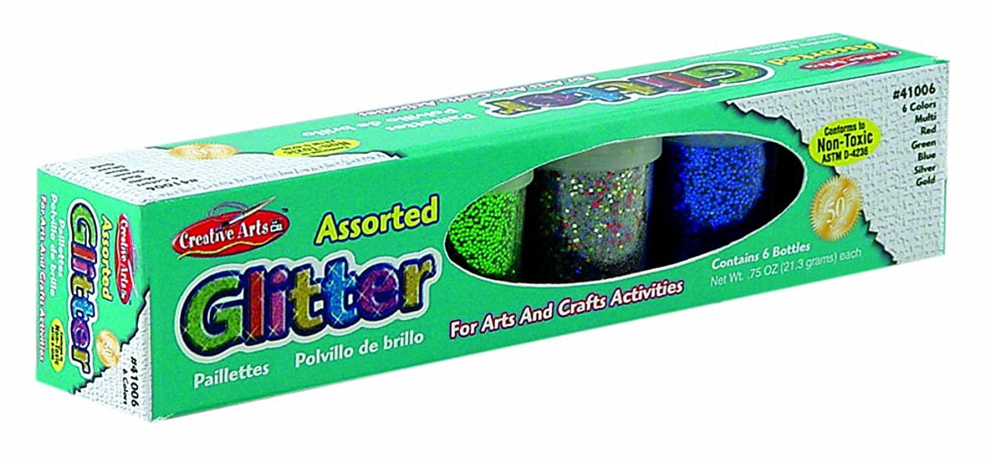 Creative Arts by Charles Leonard Glitter Set, 3/4 Ounce Bottles, 1 Each of Red, Blue, Green, Gold, Silver and Multi, 6 Bottles/Set (41006)