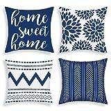 Bateruni 4er Set Geometrie Kissenbezüge, Moderne Dekorative Kissenhülle, Home Sweet Home Zierkissenbezüge für Sofa Couch Bett Auto (Blau, 45x45cm)