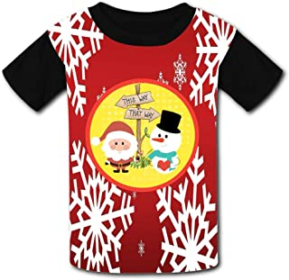 Snowman and Santa Claus Child Short Sleeve Fashion T-Shirt of Boys and Girls