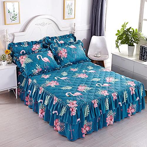 CYYyang Protector de colchón, algodón, poliéster, Hoja de Cama de Encaje de Falda de Cama Gruesa-8_180 * 220cm
