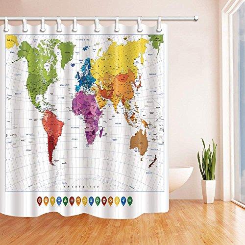 CDHBH Cortina ducha con diseño mapamundi y mapa colorido con nombre resistente al moho tela poliéster para decorar el baño cortinas baño con ganchos 180x180cm color verde y naranja