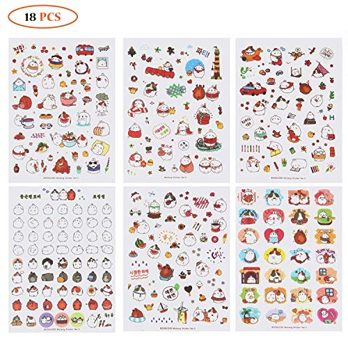 Cute Bunny Rabbit Charactor Sticker Diary Scrap Book Scrapbooking Decor Decoration 18 Sheets Lot Korean Stationery
