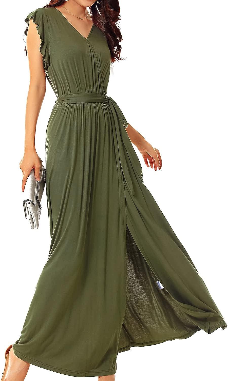 FANISA 5% OFF Women's Summer Long Maxi Dress Casual Plain Neck Loose Charlotte Mall V