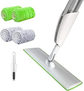 "BOOMJOY Spray Mop with 20"" Aluminum Plate, 2 Microfiber Mop Pads, 1 scraper, 300ml PP Bottle, 360 Degree Spin Hardwood Flo..."