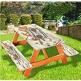 Urban Picnic - Mantel de mesa y banco ajustable, diseño de Boom Box con borde elástico urbano, 60 x 172 pulgadas, juego de 3 piezas para camping, comedor, al aire libre, parque, patio