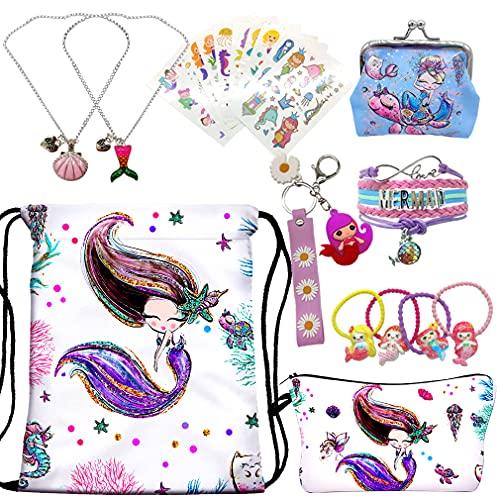 RLGPBON Mermaid Gifts for Girls Drawstring Backpack,Makeup Bag,Mermaid Jewerly Necklace Bracelet,Hair Ties