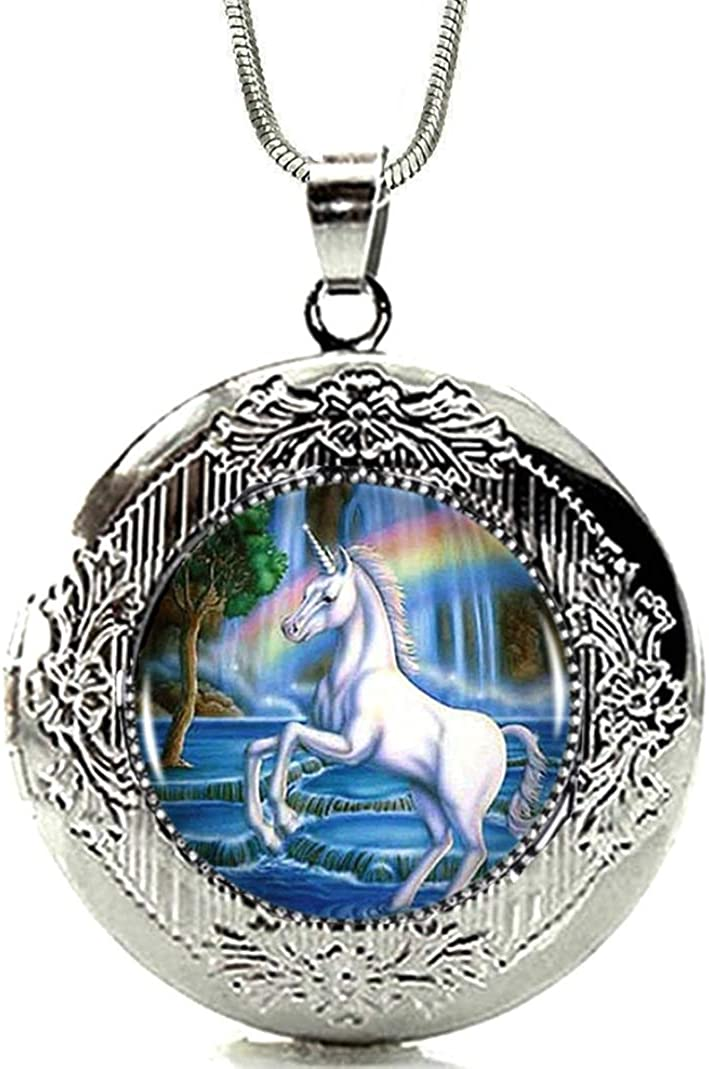 DianaL Boutique Silver Tone Unicorn Rainbow Beauty products Locket Pendant Max 74% OFF Horse