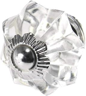 Clear White Set of 10 Handmade Glass Drawer Knobs Silver Vintage Designer Flower Shape Drawer Cabinet Pull Furniture Handl...