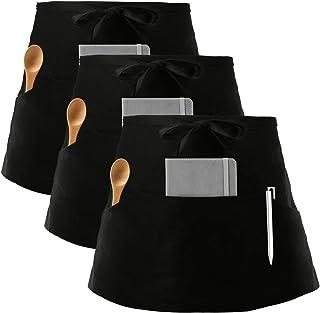 Women\u2019s canvas half apron with pockets handy tie half apron vendor apron teachers apron gardener apron craft apron barista style apron