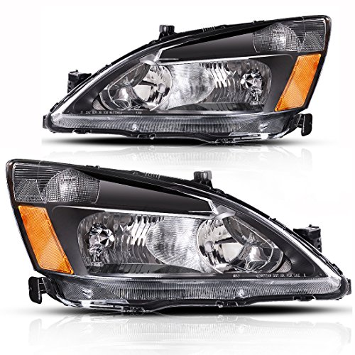 AUTOSAVER88 Headlight Assembly Compatible with 2003 2004 2005 2006 2007 Honda Accord Headlight Assembly OE Headlamp Replacement Amber Reflector Black Housing