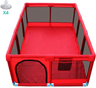 SXXDERTY-playard Rectangle Foldable Playpens Baby Play Yard Fence Large Portable Kid s Safety Activity Center with Suction Cup Bags and Zipper Door Indoor Outdoor Safety Gates Add Cotton