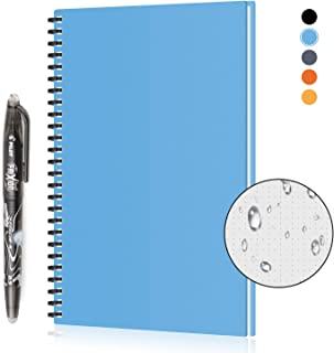 KYSTORE A5 Reusable Smart Erasable Notebook, Wirebound Spiral Notebooks and Journals Hardcover Writing Note Book Executive Heat Erase Dot Grid Paper Wide Ruled Blank 90 Pages with Erasable Pen [Blue]