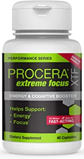 Procera XTF Extreme Focus | Natural Focus & Energy Pill | Nootropic Brain Booster, Study Aid & Preworkout Supplement | Gin...