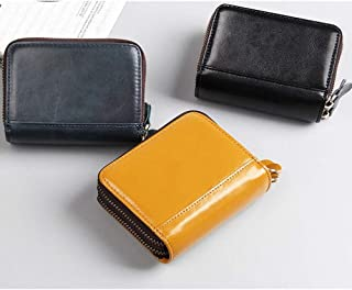 Men's Wallet Top Layer Leather RFID Card Package Multi-Card Position Organ Bag Beautiful Leather Zipper Bag Purse (Color : Blue, Size : S)