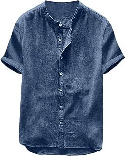 VPASS Hombre Camisetas, Camisa Hombre Verano Algodón y Lino Manga Corta Color sólido Camiseta Moda Casual Suelto T-Shirt Blusas Camisas Camiseta Cuello en v Suave básica Camiseta Top vpass