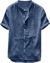 Overhemden heren korte mouwen regular fit linnen hemd Henley shirt mannen effen vrijetijdshemd oversized zomer casual over...