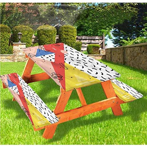 LEWIS FRANKLIN - Cortina de ducha abstracta de lujo para picnic, mantel, diseño moderno de figuras trippy con borde elástico, 28 x 72 pulgadas, juego de 3 piezas para mesa plegable