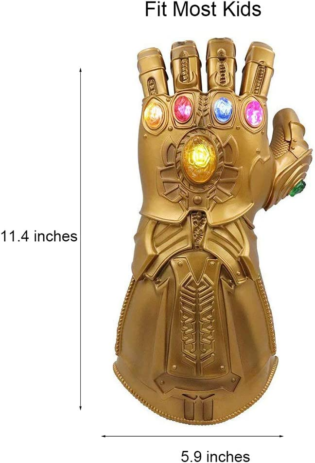 OPW Avengers Endgame Infinity War Thanos Gauntlet And Iron Man Gloves LED Stones Light Up Gloves Costume Cosplay Props Toys for Kids Adults Marvel Fans,Iron Man Gauntlet for Adults