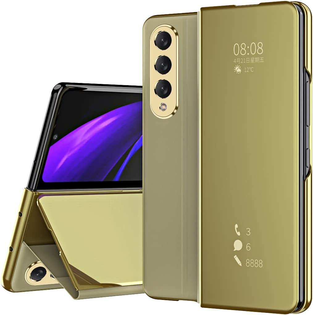 PUROOM for Samsung Galaxy Z Fold 3 Luxury Mirror Case Flip Kickstand Full Protection Cover Case for Samsung Galaxy Z Fold 3 5G 2021 (Gold)