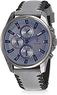 Vetor Watch for Men, Analog, Chronograph, Leather Band, Grey, VT027M170404