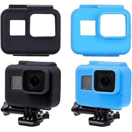 Camkix Silikonhüllen Kompatibel Mit Den Rahmen Ihrer Gopro Hero 7 6 5 Black 2 Schutzhüllen Schwarz Und Blau Schutz Für Ihre Gopro Hero 7 6 5 Black Kamera Innerhalb Des Rahmens Sport Freizeit