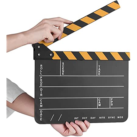 Honeytecs Dry Erase Acrylic Director Film Clapboard Movie TV Cut Action Scene Clapper Board Slate with Yellow/Black Stick, Black