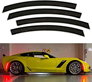 iJDMTOY Smoked Lens Full LED Strip Front & Rear Side Marker Light Kit For 2014-19 Chevy C7 Corvette, Powered by 192-SMD LED, Replace OEM Sidemarker Lamps