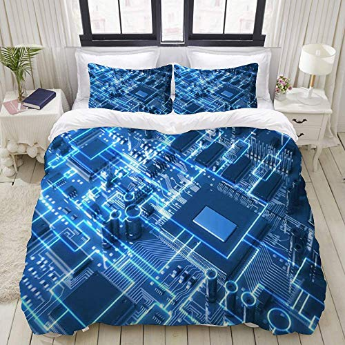 Rorun Duvet Cover,Mother Fantasy Circuit Board Top View Chip Industrial Technology Digital Circuitry Tech Future,Bedding Set Ultra Comfy Lightweight Luxury Microfiber Sets