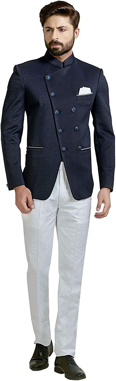 Indian Designer Partywear Traditional Ethnic Navy Blue Mens Wear Jodhpuri Suit.