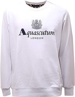 Aquascutum 2578AE Felpa Uomo White Cotton Sweatshirt Man