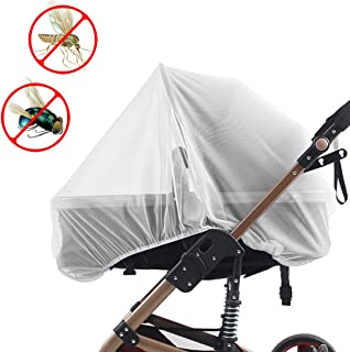 Biubee 2 Pcs Stroller Nets- Portable Baby Mosquito Net Toddler Insect Shield Cover Bug Protection for Carrier, Cradle, Carseat(White, 2 Size)