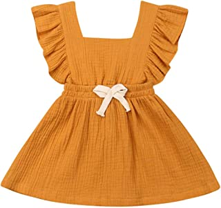 Toddler Baby Girl Ruffle Fly Sleeve Pinafore A-line Princess Dress Summer Suspender Skirt Cotton Backless Dress