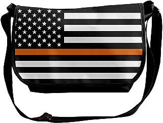 BUGKHD Bolsa bandolera de bandolera para hombre y mujer con bandera, de la marca Thin Orange Line, para ir de compras, est...