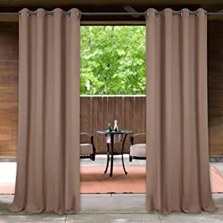 StangH Outdoor Curtains for Patio - Heavy-Duty Windproof & Waterproof Blackout Outdoor Curtain Panel Keep Sun & Heat Out for Garden/Dock/Apartment Balcony, Mocha, 52 x 95 Inch, Single Piece
