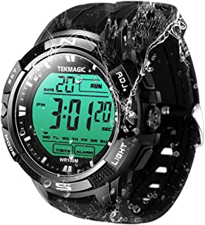 TEKMAGIC 10 ATM Water Resistant Digital Sports Diving Watch with Alarm and Stopwatch Functions, Support Dual Time Zone Display, Timer Count Down, 12/24 Hour Format