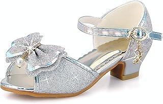ANBIWANGLUO Filles Sequin Chaussures Princesse Chaussures à Talons Hauts Enfants Party Pompes