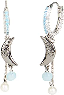 Carolee Women's Moon Charm Hoop Earring