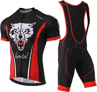 Unkoo Mens Cycling Jersey fabric Short Sleeve Racing Team Breathable Biking Top Bicycle Riding Bib Shorts Set Two Pieces C...