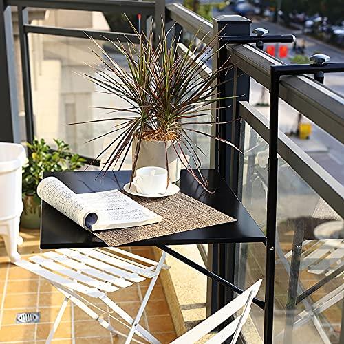 Mesa de Terraza Plegable,Robusta Mesa Colgante para Balcón para Un Espacio Extra Casual, Panel a Base de Madera 4 Altura Ajustable(60 * 40cm)
