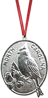 962 North Carolina NC Cardinal Dogwood Ornament Pewter
