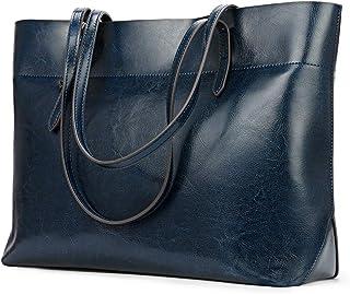 Kattee Vintage Genuine Leather Tote Shoulder Bag for Women Satchel Handbag with Top Handles(Blue)